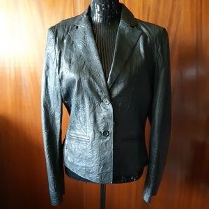 Mexx Black Leather Jacket Size 12